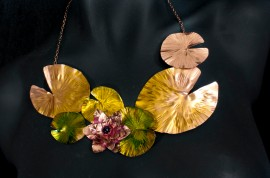 Lily Pad necklace - Copper, Ink, Amethyst $207