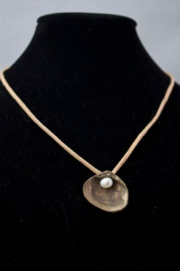 Oyster - Bronze, Pearl, Leather Cord $90